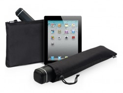 The portable Logitech Tablet Speaker is also an iPad stand